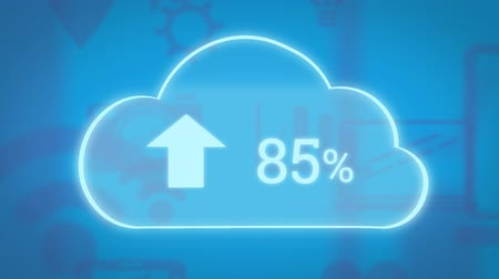 割合 : Animation of white cloud icon with white arrow pointing up and numbers growing from zero to one hundred percent with wifi reception, cog and laptop computer outlines on blue background. Global network 動画素材