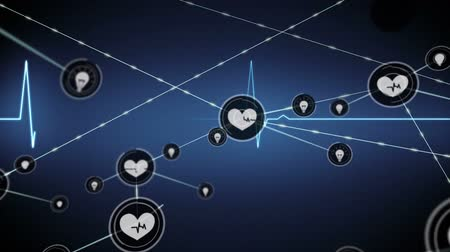 heart rate : Animation of data processing and network of connections with heart beat rate icons with blue heart beat rate line on dark blue background. Global networking.
