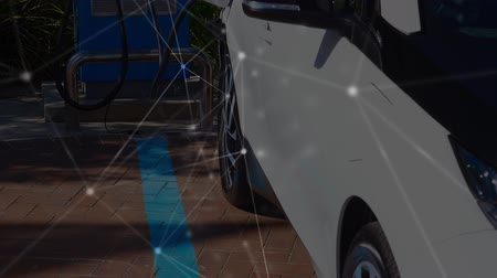 ricarica : Animation of an electric car being charged, network of connections moving in the foreground. Environment and eco friendly car engineering,