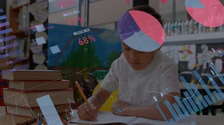 yetiştirmek : Animation of a mixed race schoolboy writing at raising his hand at school during lesson with graphs and statistics displaying in the foreground. Education finance growth concept. Stok Video