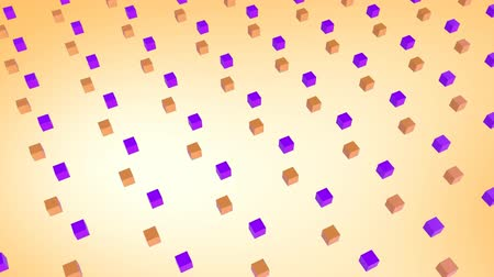 угловой : Cool angular geometry design pattern style Animation of 3d orange and purple cubes moving in formation on yellow background 3d digital design composite video animation.
