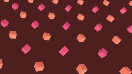 угловой : Cool angular geometry design pattern style Animation of 3d pink and orange cubes moving in formation on brown background 3d digital design composite video animation.