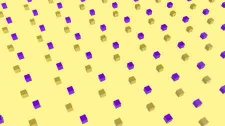 angular : Cool angular geometry design pattern style Animation of 3d yellow and purple cubes moving in formation on yellow background 3d digital design composite video animation.