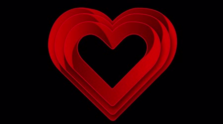 heart beat : Animation of multiple red heart outlines appearing behind each other and beating on black background. Celebrating Valentines Day. 3d digital design composite video animation. Stock Footage