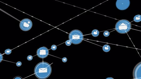 sharing : Animation of data processing and network of connections with mail and chat icons on black background. Global networking. 3d digital design composite video animation. Stock Footage