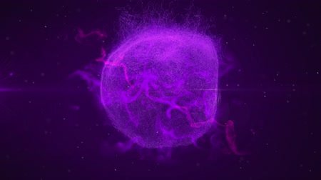 speck : Animation of mysterious globe of purple smoke rotating in repetition in hypnotic motion and exploding with network of moving particles on dark purple background. Magical shimmering light composition.