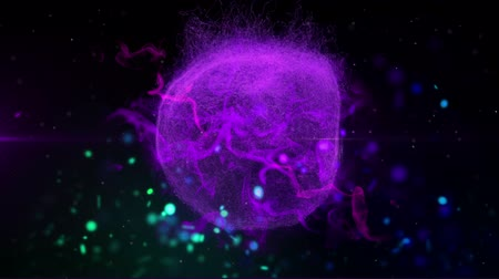 speck : Animation of mysterious globe of blue smoke rotating in repetition in hypnotic motion with network of glowing bokeh colourful spotlights on black background. Magical shimmering light composition. Stock Footage