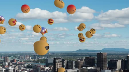 risonho : Animation of a group of multiple emoji icons flying from left to right over cityscape with clouds on blue sky in the background. Global social networking concept digital composite.