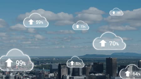 kombináció : Animation of white clouds with percent increasing from zero to one hundred over cityscape with clouds on blue sky in the background. Global networking cloud computing in modern world concept combination image. Stock mozgókép