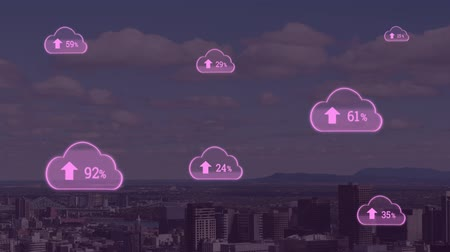 kombináció : Animation of pink clouds with percent increasing from zero to one hundred over cityscape with clouds on blue sky in the background. Global networking cloud computing in modern world concept combination image.