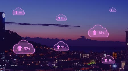 組み合わせ : Animation of pink clouds with percent increasing from zero to one hundred over cityscape with clouds on blue sky in the background. Global networking cloud computing in modern world concept combinatio