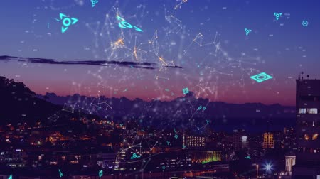 social change : Animation of network of connections with data processing and digital information moving over cityscape with clouds on blue sky in the background. Global technology data processing network concept digital composite.