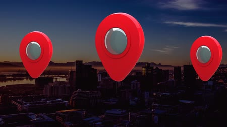 kombináció : Animation of three red and silver map location pins bouncing over cityscape at sunset with clouds on blue sky in the background. Global networking business travel in modern world concept combination image.