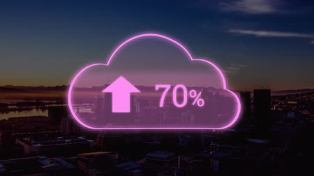 por cento : Animation of pink cloud with percent increasing from zero to one hundred over cityscape with clouds on blue sky in the background. Global networking cloud computing in modern world concept combination image.
