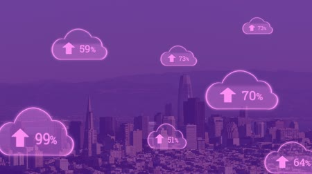 por cento : Animation of pink clouds with percent increasing from zero to one hundred over cityscape with clouds on blue sky in the background. Global networking cloud computing in modern world concept combination image.