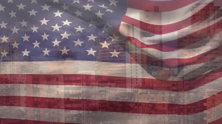 visto : Animation of the American flag waving with cityscape in United States seen through it 3d digital design composite video animation.