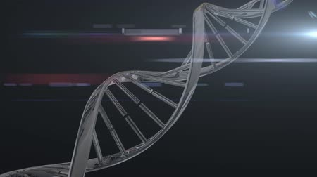 vertente : Animation of 3d metallic grey dna strand turning on black glowing background. Global science. 3d digital design composite video animation.