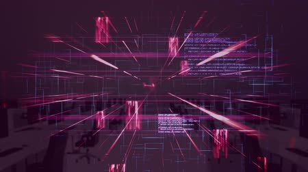 data cloud : Animation of data processing and elements moving with out of focus modern office on pink background. Global business and finance concept.