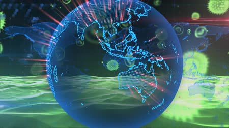 dünya çapında : Animation of green macro corona virus spreading and floating blue glowing globe spinning and waves of information flying in the background. Global health warning scare spreading infections concept digital composite.
