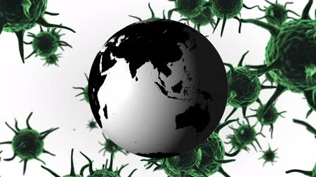 longontsteking : Animation of green macro corona virus spreading and floating with green globe spinning in the background. Global health warning scare spreading infections concept digital composite. Stockvideo