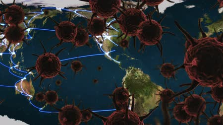mikroskopický : Animation of brown macro corona virus spreading and floating with city map and network of connections in the background. Global health warning scare spreading infections concept digital composite.