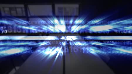 por cento : Animation of data processing, glowing numbers moving from right to left, light trails with out of focus modern office in the background. Global business and finance concept.