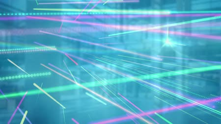 不在 : Animation of data processing with links and network of global connections and out of focus modern office with blue and purple lines on green background. Global business and finance concept.