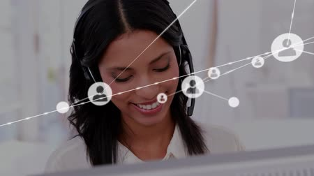 yardım hattı : Animation of network of connections with people icons with a Caucasian businesswoman wearing phone headset in a busy office in the background. Global networking and connections concept digital composite.