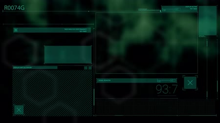 global iş : Animation of digital computer interface screens scanning and data processing on out of focus glowing green background. Digital interface global communication concept digitally generated image. Stok Video