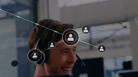 телефон доверия : Animation of network of connections with people icons with a Caucasian businessman wearing phone headset in a busy office in the background. Global networking and connections concept digital composite.