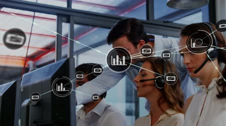телефон доверия : Animation of network of connections with statistics icons with a group of office workers wearing phone headsets in a busy office in the background. Global networking and connections concept digital composite.