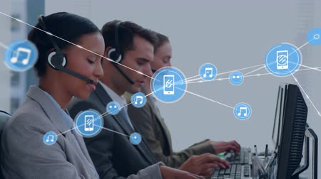 телефон доверия : Animation of network of connections with music and smartphone icons with a group of office workers wearing phone headsets in a busy office in the background. Global networking and connections concept digital composite.