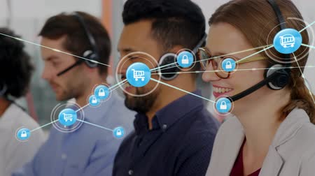 телефон доверия : Animation of network of connections with online security and shopping trolley icons with a group of office workers wearing phone headsets in a busy office in the background. Global networking and connections concept digital composite.