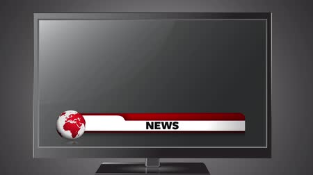 текущий : Animation of the news screen with the word News written in red on red and white banner, with red and white globe spinning displayed on television set on grey background. Global technology media and information network concept digitally generated image. Стоковые видеозаписи