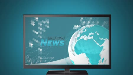 news letter : Animation of the news screen with the words Breaking News written in grey and blue, blue and white digital globe rotating, information processing displayed on television set on grey background. Global technology media and information network concept digit