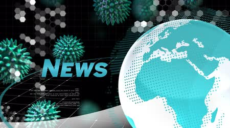 koróna : Animation of the word News written in blue, white and blue digital globe rotating, information processing with blue macro corona virus spreading. Global epidemic health care media and information network concept digitally generated image.