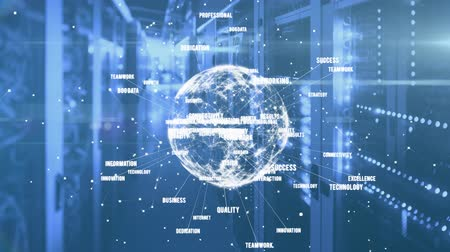 data cloud : Animation of digital globe of network of connections spinning, data processing and digital information flowing through network of computer servers in a server room. Global network of internet service provider or data processing center concept digitally ge Stock Footage