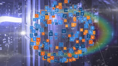 provider : Animation of global network of connections, data processing and digital information flowing through network of computer servers in a server room. Global network of internet service provider or data processing centre concept digitally generated image. Stock Footage