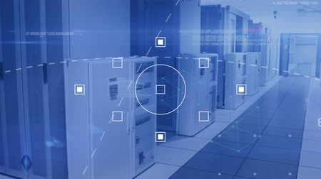поставщик : Animation of data processing and digital information flowing through network of computer servers in a server room. Global network of internet service provider or data processing centre concept digitally generated image.
