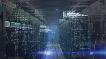 поставщик : Animation of data processing and digital information flowing through network of computer servers in a server room with white light trails flashing on surface. Global network of internet service provider or data processing centre concept digitally generate Стоковые видеозаписи