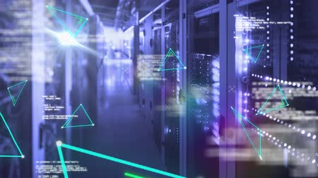 поставщик : Animation of flickering green triangle outlines, data processing and digital information flowing through network of computer servers in a server room. Global network of internet service provider or data processing centre concept digitally generated image.