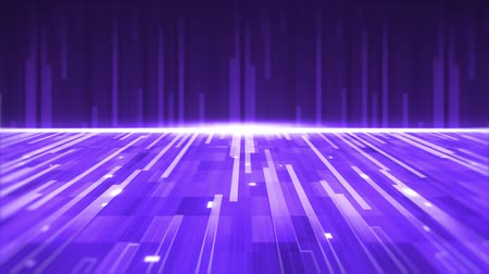 paralelo : Animation of a group of purple parallel light trails moving upwards and forward with horizontal glowing white line on purple background Vídeos