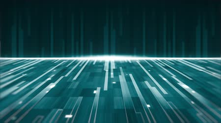 paralelo : Animation of a group of green parallel light trails moving upwards and forward with horizontal glowing white line on green background Vídeos