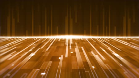 paralelo : Animation of a group of yellow and gold parallel light trails moving upwards and forward with horizontal glowing golden line on brown background Vídeos