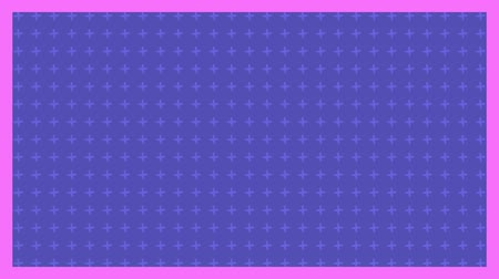 zęby : Animation of light purple cross moving in formation with pink frame on purple background