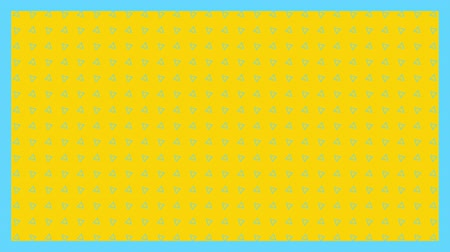 zęby : Animation of turquoise spots in formation with turquoise frame on yellow background