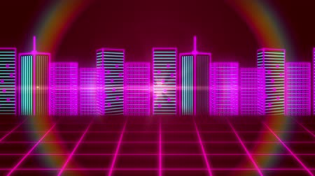 pryzmat : Animation of 3d cityscape drawn in pink and green with rainbow coloured circle and pink grid moving on red background Wideo