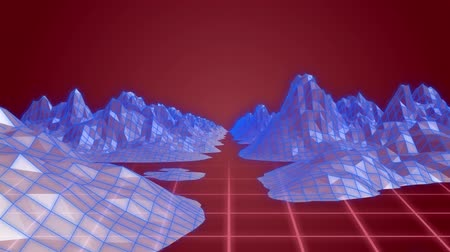 cartografia : Animation of 3d topographic map of blue mountains and pink grid moving on red background