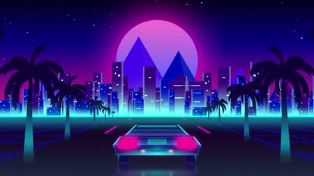 iluminado para trás : Animation of back of car driving at night towards lit cityscape with glowing horizontal turquoise line alongside road with palm trees with glowing pink moon on blue background