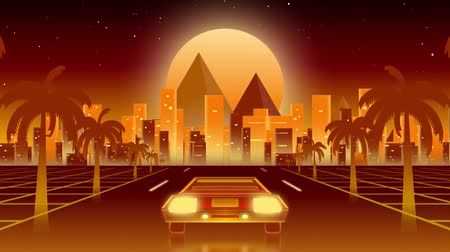 iluminado para trás : Animation of back of car driving at night towards lit cityscape with glowing horizontal yellow line alongside road with palm trees with glowing orange moon on red background Stock Footage